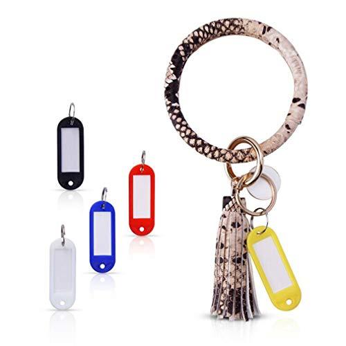 Bangle Key Ring Chain Bracelet, Anmyox Large Circle Leather Wristlet Keychain Bracelet Holder with Tassel for Men&Women Girls.