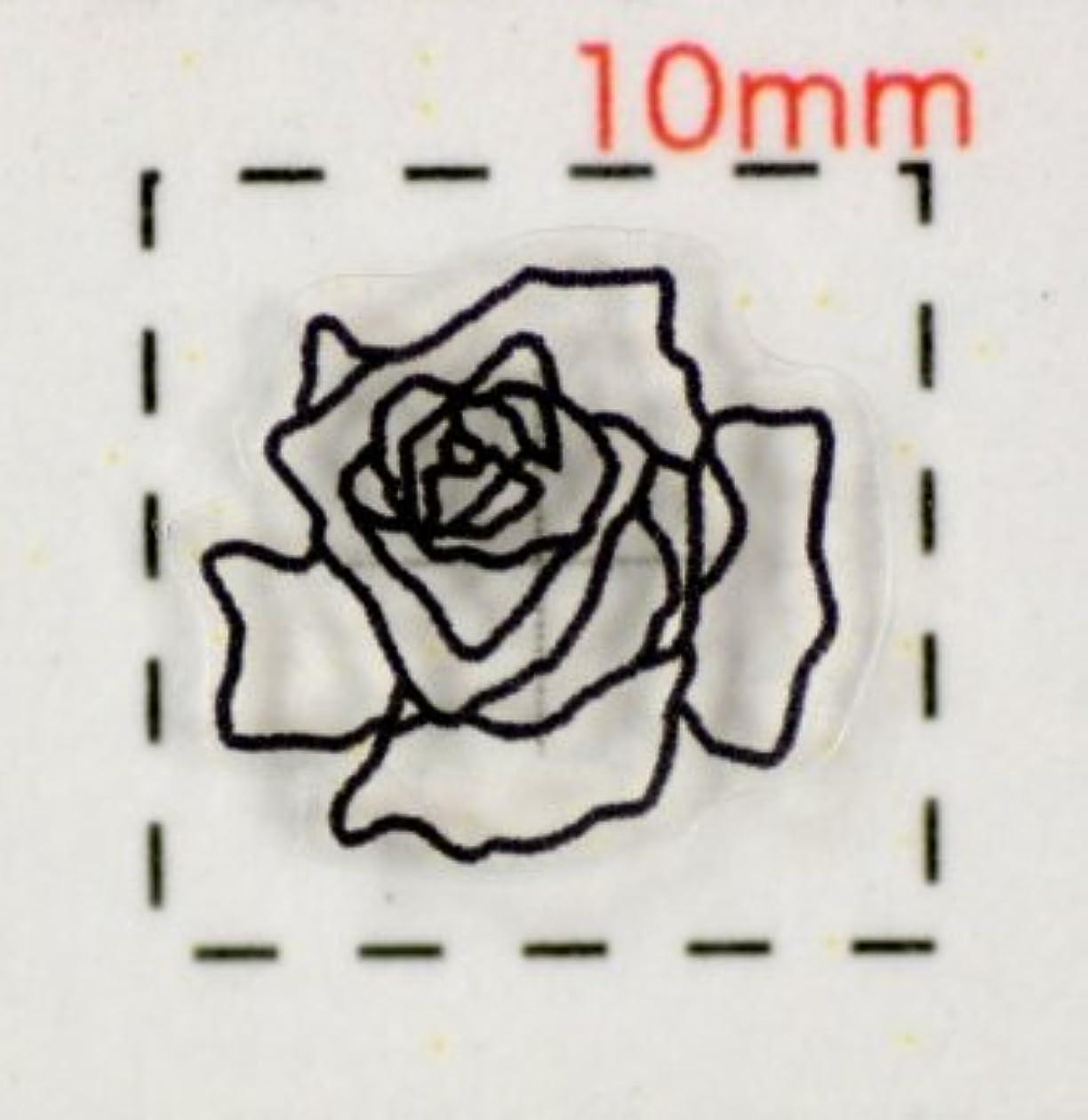 岸属性クリア【バラ?薔薇ネイルシール】(6)透明&ブラック/1シート9枚入