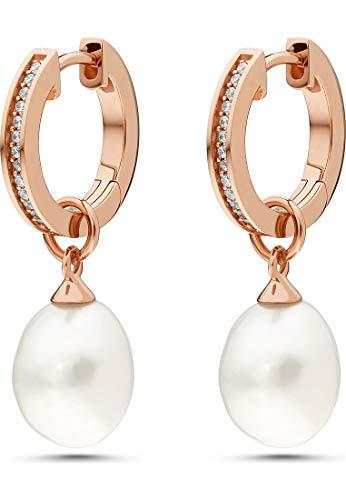 JETTE Silver Damen-Creolen Pearl 925er Silber 2 Perle One Size Roségold 32011603