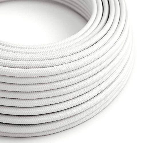 creative cables Fil Électrique Rond Gaine De Tissu De Couleur Effet Soie Tissu Uni Blanc RM01-5 mètres, 2x0.75