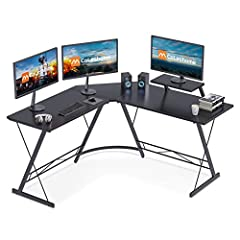 Wide Space with L Shaped Design: Made of sleek Wide desktop with a monitor shelf attached. You will have plenty of surface space for writing, computer work and other home office activities. Extra wide dismountable monitor shelf gives you extra layer ...