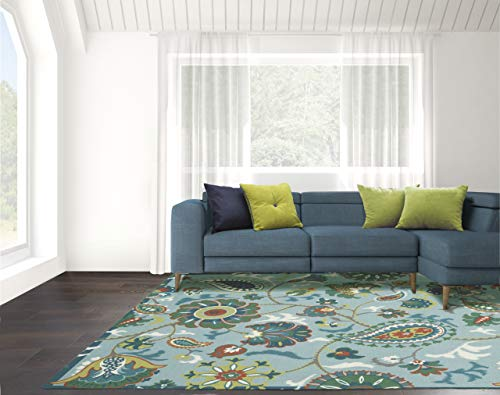 Waverly Sun N Shade Blue Multicolor Beach Indoor-Outdoor Rug 5'3'X7'5', Light