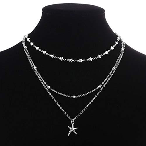 Jovono Boho Collar con colgante de estrella de mar multicapa de moda, gargantilla con cuentas para mujeres y niñas (plata)
