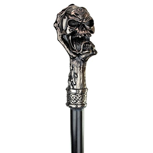 Design Toscano QS23018 The Dragonsthorne Collection Death's Grip Skull and Claw Gothic Walking Stick Swagger Cane, 39 Inch, Silver