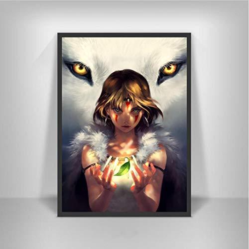 lubenwei Princess Mononoke Movie Japan Anime Posters and Prints Painting Art Canvas Wall Pictures Home Decor quadro cuadros 40x50cm No frame AW-1510