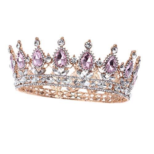 Minkissy Vintage Rhinestone Crown Tiara Baroque Queen Crown Wedding Tiaras for Wedding, Prom, Pageant, Party (Pink)