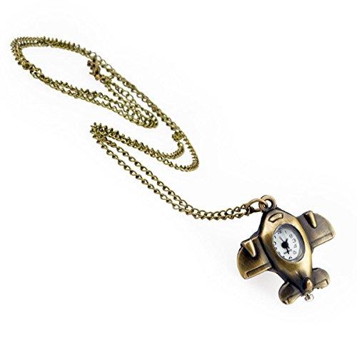 Kobert Goods TU 66 horloge met vliegtuig hanger en lange ketting in oud gouden look, halsketting modesieraad