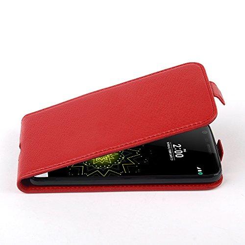 Cadorabo Custodia per LG G5 in ROSSO CREMISI - Protezione in Stile Flip di Similpelle Strutturata - Case Cover Wallet Book Etui