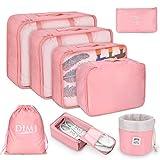 Koffer Organizer Set 8-teilig, kleidertaschen für Kleidung Kosmetik Schuhbeutel Kabel Aufbewahrungstasche, Reisen Organizer Tasche,Rosa