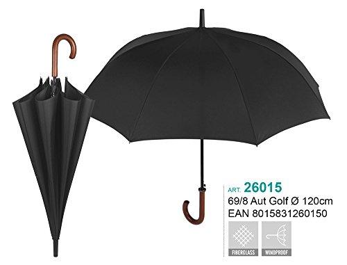 PERLETTI 26015Gent Golf 69/8AUT schwarz Holz gebogenen Griff Winddicht Microfaser Regenschirm