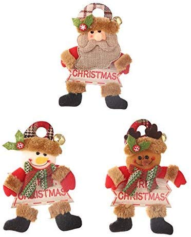 NA Mu?eca de Felpa con Campana de Oro y Letrero de Madera Colgante de Navidad Puerta Decorativa Ventana Adornos Colgantes Suministros de Regalo 3 Piezas