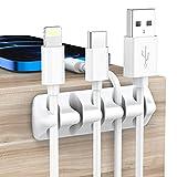 YIVEVEN Clips de Cable, 5 Piezas Adhesivos Organizador de Cables Multiusos, Gestión de Cables para el Mouse, PC, Hogar, Oficina, Cubículo, Automóvil, Escritorio, Blanco