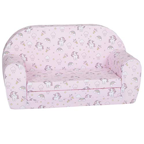 DELSIT Toddler Couch & Kids Sofa - European Made Children's 2 in 1 Flip Open Foam Double Sofa - Kids Folding Sofa, Toddler Sofa Bed - Comfy fold Out Lounge (Unicorns and Rainbows Pink)
