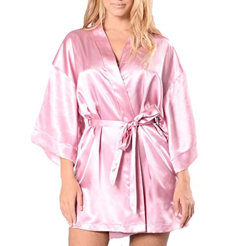 OPAKY Vestido Pijama Mujer Kimono Corto Bata de Satén Lencería Kimono del Cordón Satén Seda de Hielo Bata Albornoz Camisón Tallas Grandes Sexy Bata de Encaje de Seda Albornoz Ropa de Dormir