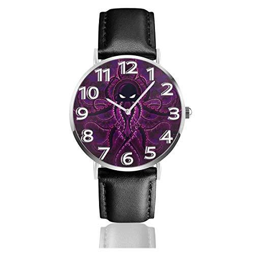 Reloj de Pulsera Morado OC-to-pus Art King Durable PU Correa de Cuero Relojes de Negocios de Cuarzo Reloj de Pulsera Informal Unisex