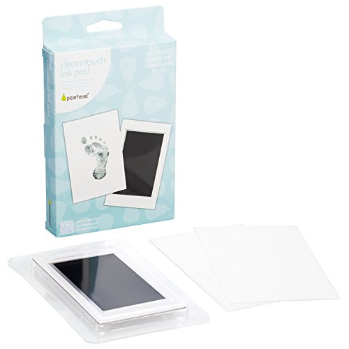 "Pearhead Newborn Baby Handprint or Footprint ""Clean-Touch"" Ink Pad, Black"