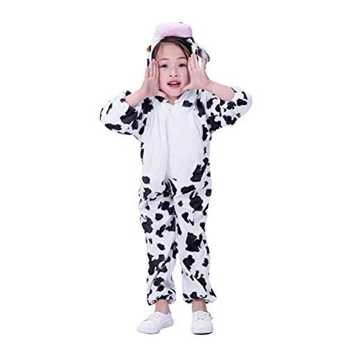 Amosfun Kinder Kuh Onesie Tier Pyjamas Kostüm Cosplay Kuh Overall für Kinder Kleinkinder Party Kostüm (Größe L)