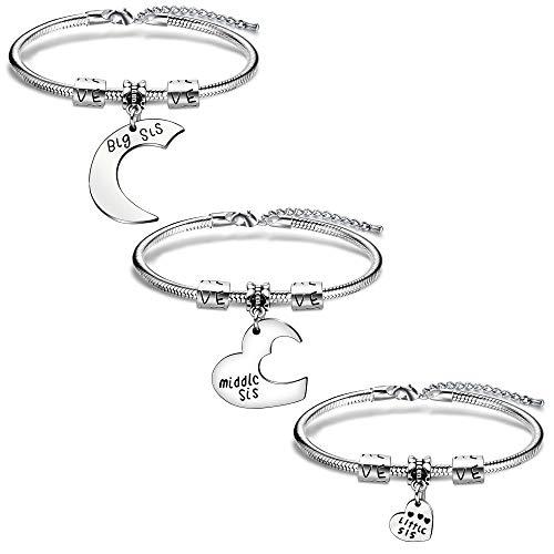 AGR8T - Juego de 3 pulseras con abalorios para hermanas, para mujer, para cumpleaños, día de Navidad