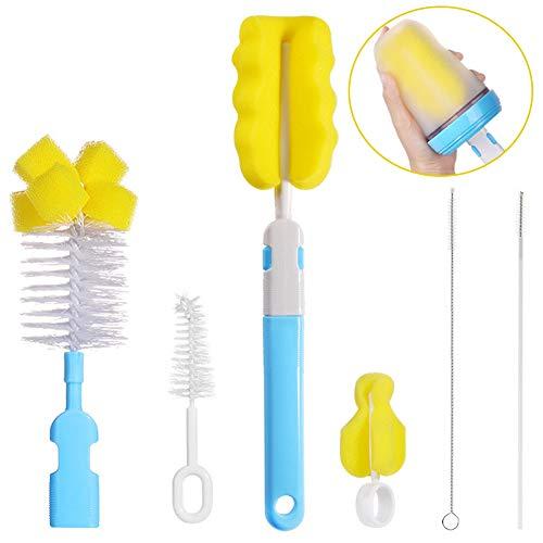 BESLIME Spazzola per bottiglie,Bottle Brush Cleaner kit,spugna di pulizia pulizia di biberon,kit di pulizia per bottiglie/tazze/cannuccia 6pcs