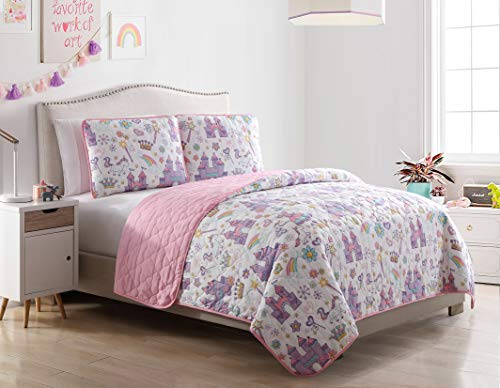 Kute Kids Unicorn Magic Castle Quilt Set, Includes Sham(s) Design Features a Castle, Rainbow, Crown and Unicorn – Available in Twin & Full/Queen (Full/Queen)