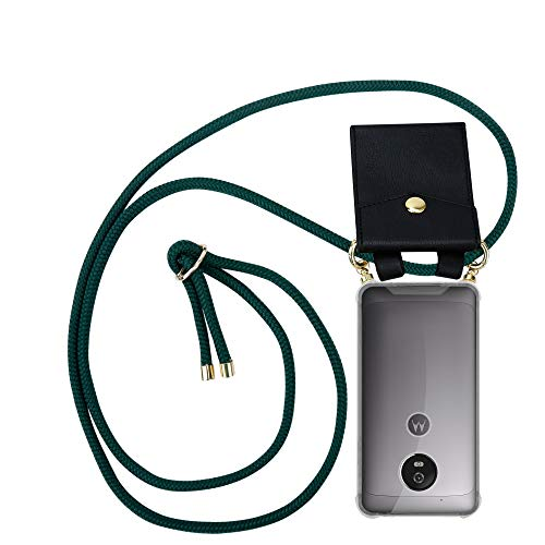 Cadorabo Funda con Cuerda para Motorola Moto G5 en Verde EJÉRCITO – Cubierta Protección Collar para Colgar di TPU Silicona Transparente con Anillos OROS, Cordon y Estuche Removible