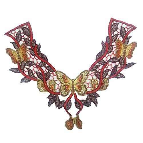 Cordón del Cuello Escote De Encaje Apliques Florales Bordados Collar De Recorte Ropa De Coser Apliques