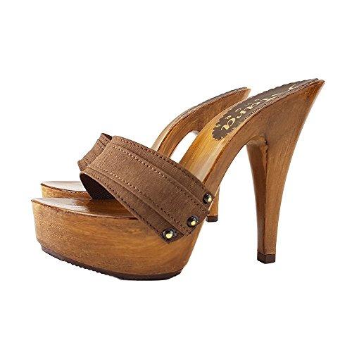 Kiara Shoes Zoccoli Marrone Tacco 13 cm-K9101 Marrone (35)