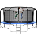 14FT Trampoline with Enclosure Recreational Trampoline for Kids and Adults ASTM Approved Combo Bounce Trampoline with Jumping Mat, Spring Cover Pad and Ladder