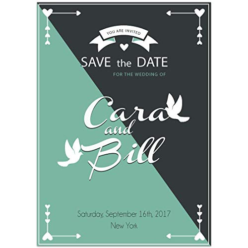 Doves Teal Navy Save the Date Card Wedding Invitation