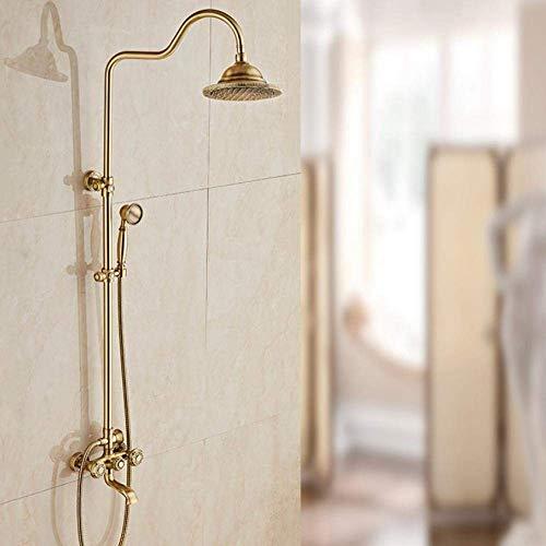 Kraan voor bad en douche kraan voor regendouche in antieke messing muur douchekraan met dubbele greep in retrostijl