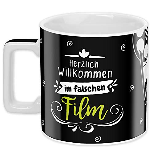 Sheepworld Wortheld-Tasse 45924, Cappuccino-Tasse Falscher Film, Porzellan, 45 cl, schwarz-weiß