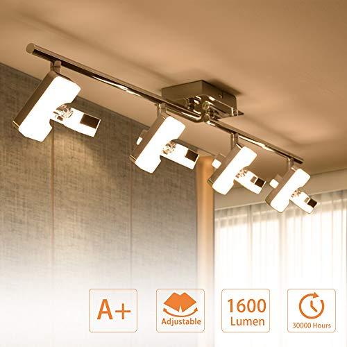 PADMA Led Deckenlampe Küche Modern Deckenleuchte Wohnzimmer Warmweiß 4 x 5W schwenkbar 3000K 1600 Lumen für Schlafzimmer Kinderzimmer Büro Flur Esszimmer