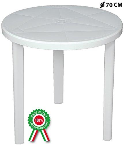 SF SAVINO FILIPPO Tavolo tavolino Tondo Diametro 70 cm Milano in Dura Resina di plastica Bianco con Foro per ombrellone per Esterno casa Balcone Bar sagra da Giardino Rotondo