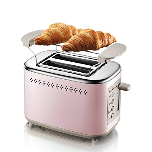Tostadora de cocina de acero inoxidable para 2 rebanadas de pan, tostadora para desayuno, sandwichera, accesorio para panecillos extraíble y función de elevación