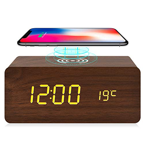 fomobest Digital Wooden Alarm Clock with Wireless Charging, 3 Alarm LED Display, Snooze, Sound Control, Adjustable Brightness, Wood Made Electric Clocks for Bedroom, Bedside, Kid (Brown)