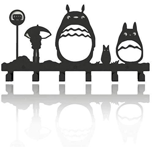 Cat Coat Hooks Wall Mounted Bag Hanger,6 Hooks Storage Rack Originality Clothing Hooks Key Holder Belt and Hat Organizer Totoro Pattern Black
