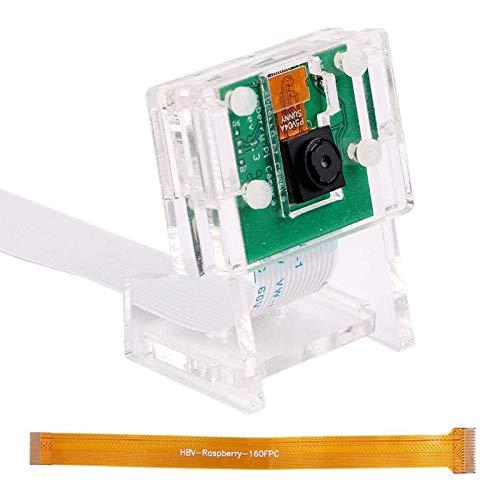 MakerHawk Cámara Raspberry-Pi 5 megapíxeles 1080p / 30fps Módulo de video de mini cámara de 5 grados y 5MP con soporte acrílico y cable flexible FFC para Raspberry Pi 4B / 3B + / 3B / Zero / Zero W