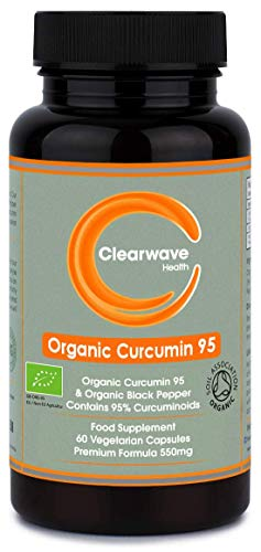Organic Curcumin 95 with Black Pepper - Containing ONLY Curcumin (The Active Component of Turmeric) - Highest Quality Curcumin Capsules - 550mg Curcumin - 60 Capsules - Made in The UK