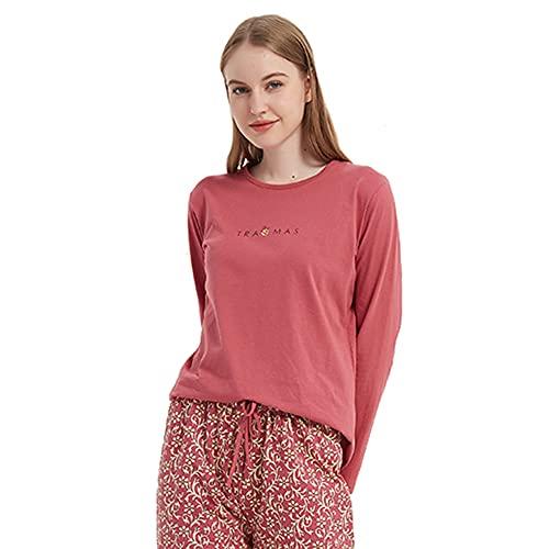 PimpamTex – Pijama de Mujer Invierno Algodón de Otoño-Invierno Camiseta Manga Larga y Pantalón Largo Estampados de Tacto Suave (Noa Granate, m)