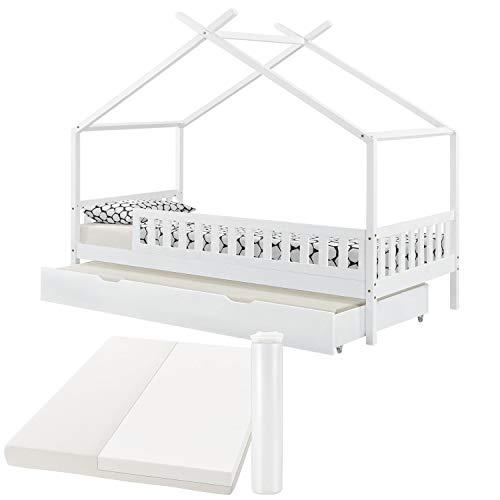 ArtLife Kinderbett Tipi 90 x 200 cm mit Matratze, Bettkasten, Rausfallschutz und Lattenrost – Bett für Kinder aus massivem Holz – Hausbett mit Dach in Weiß