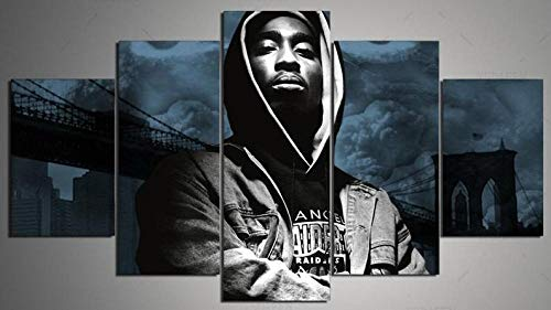 104Tdfc 2Pac Tupac Amuru Shakur Bilder 5 teilig Dekorative leinwand malerei 5 stück Leinwandbild wandbilder Wohnzimmer Schlafzimmer Wand Dekoration XXL Tapete