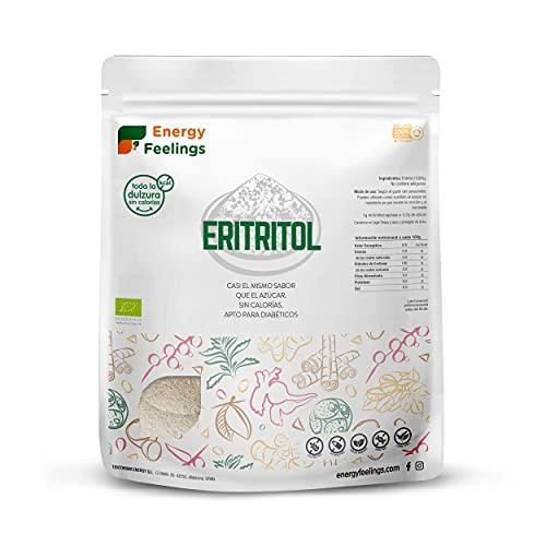 Energy Feelings Eritritol granulado ecológico   0% Kcal   Edulcorante y Endulzante Natural   Sin Azúcar   Sin Gluten   Vegano   Edulcorante para Cocinar   1Kg