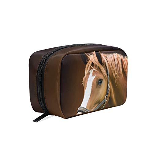 Maquillaje portátil bolsa de cosméticos cuadrado con cremallera Caballo Animal Embrague Bolsa de viaje Bolsa de almacenamiento para mujeres niñas
