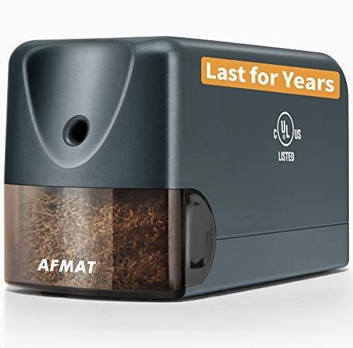 AFMAT Electric Pencil Sharpener Heavy Duty, Classroom Pencil Sharpener for 6.5-8mm No.2/Colored Pencils, UL Listed Professional Pencil Sharpener w/Stronger Helical Blade, Premium Grey, by AFMAT