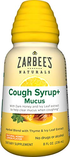 Zarbee'S Naturals Cough Syrup + Mucus With Dark Honey- Herbal Blend With Thyme &Amp; Ivy Leaf Extract, Natural Honey Lemon Flavor, 8 Ounce Bottle
