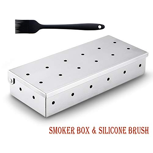 Jackshadow Smoker Box for BBQ Grill Wood Chips, Stainless Steel Barbecue Smoker Box, Works with Wood Chips on Gas Grill or Charcoal Grills, Accessories with a Barbecue Silicone Brush Boxes Smoker