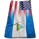 Bandera de EE. UU. Y Nicaragua Toalla Ultra Suave Toallas de baño de Gran tamaño Toallas de Mano Toallas de Lavado Ideal para Uso Diario, Toalla Deportiva de Yoga para hoteles y spas