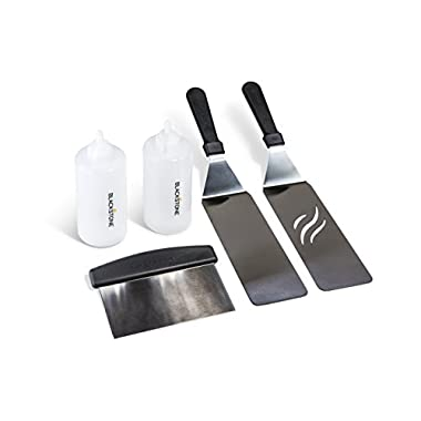 Blackstone Signature Griddle Accessories, Restaurant Grade, 2 Spatulas, 1 Chopper Scraper, 2 Bottles, FREE Recipe Book, 5 Piece Tool Kit for BBQ Grill, great for Flat Top Cooking, Camping and Tailgating