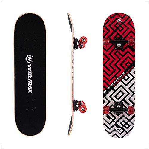 WIN.MAX Completo Skateboard para Principiantes 31'x8' 7 Capas Monopatín de Madera de Arce con rodamientos ABEC-7 Tabla de Skateboard(Maze-RD)