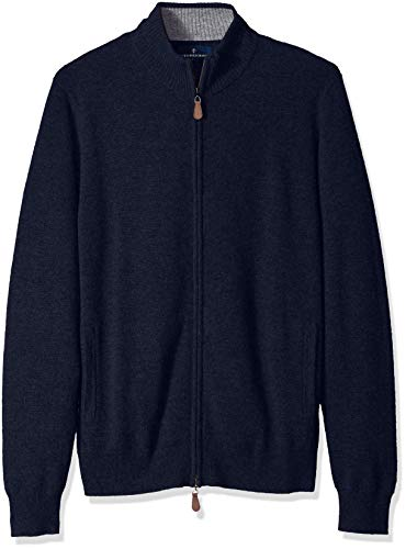 Amazon Brand - BUTTONED DOWN Men's 100% Premium Cashmere Full-Zip Sweater, Midnight Navy, Small